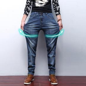 男装春夏季薄款宽松牛仔裤男士直筒修身松紧腰超高弹力加肥加大码