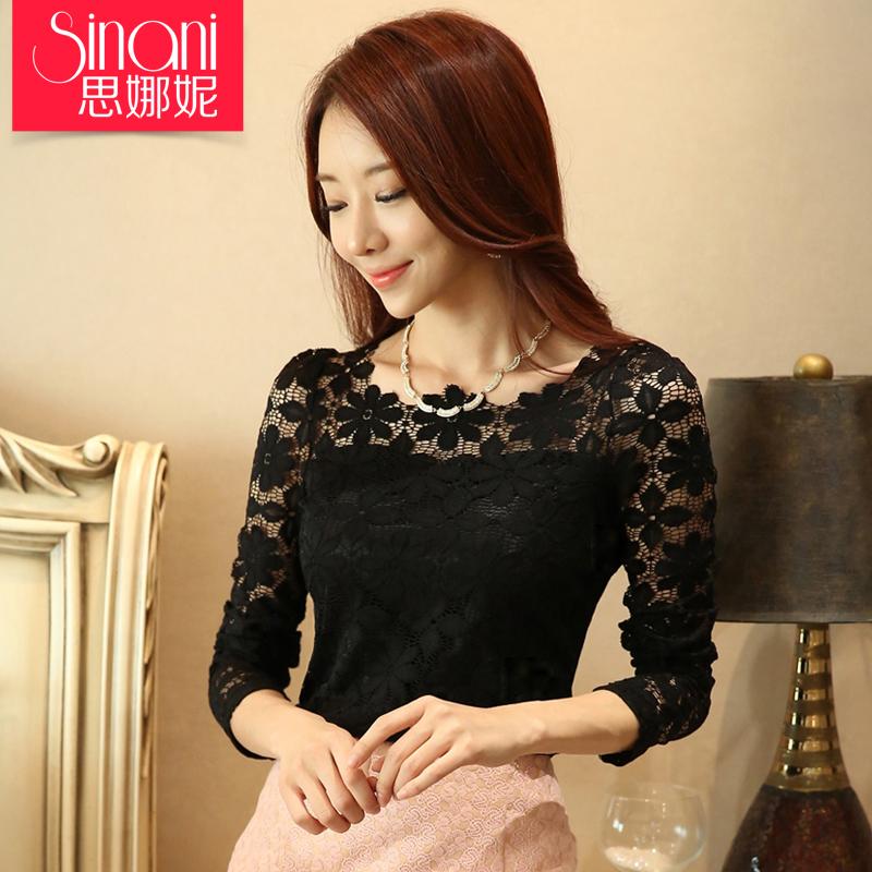 加绒加厚蕾丝打底衫女长袖2015秋冬装新款韩版修身黑色蕾丝衫上衣