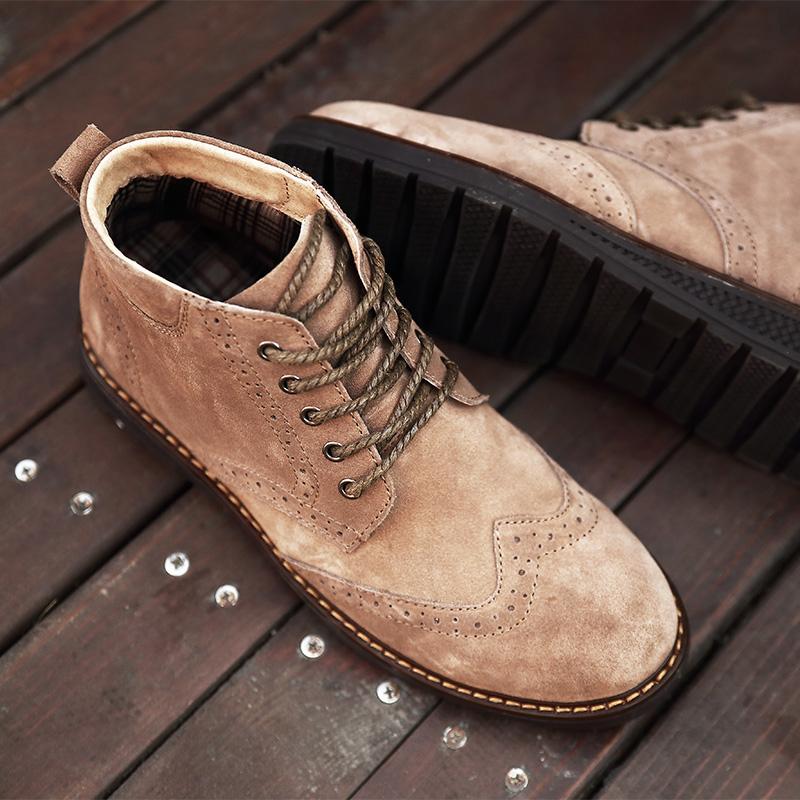 男式短靴布洛克雕花男鞋复古马丁靴英伦加绒潮流皮鞋真皮保暖冬季