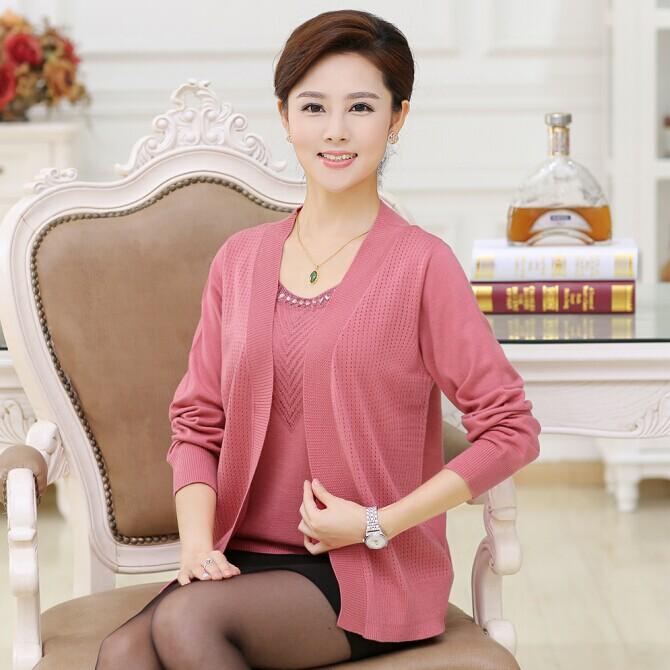 秋装新款韩版简约圆领中长款毛衣 2014针织开衫两件套外套女针织