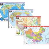 2017全新版中国地图 世界地图(挂墙与桌面两用版)学生地图 桌面地图 双面硬膜 送可擦写笔 中国地形世界地形图 气候资源