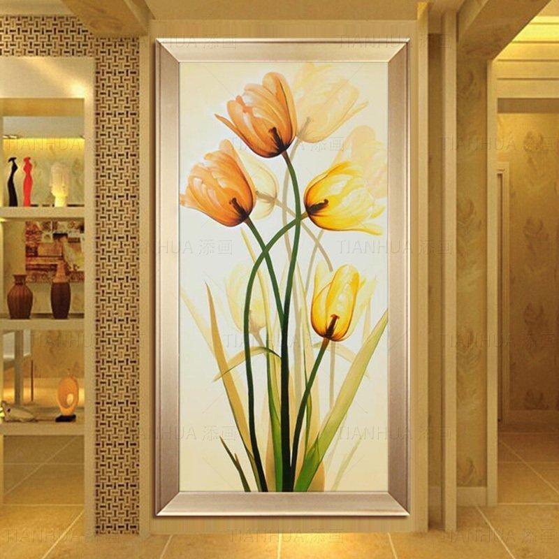 玄关装饰画竖版油画 客厅过道走廊挂画花卉纯手绘