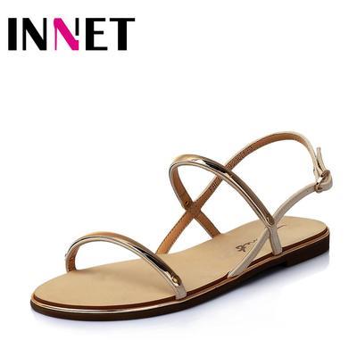 百丽旗下INNET/茵奈儿2015年夏季PU革方跟女凉鞋ULE29BL5
