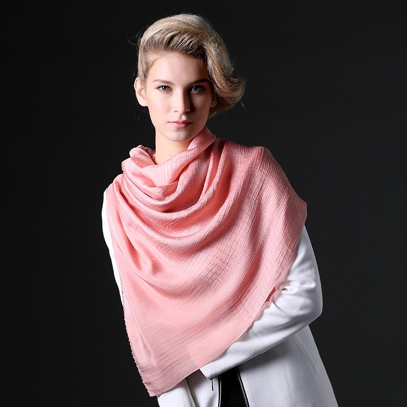 范那美罗 秋冬新款全真丝 时尚双面纯色提花高档桑蚕真丝加长丝巾