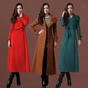 莎点16秋冬羊毛绒大衣 修身显瘦加长款大衣女 厚外套过膝毛呢大衣
