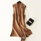 2017秋冬新款双面绒马甲纯色修身西装领羊毛马夹中长款毛呢外套