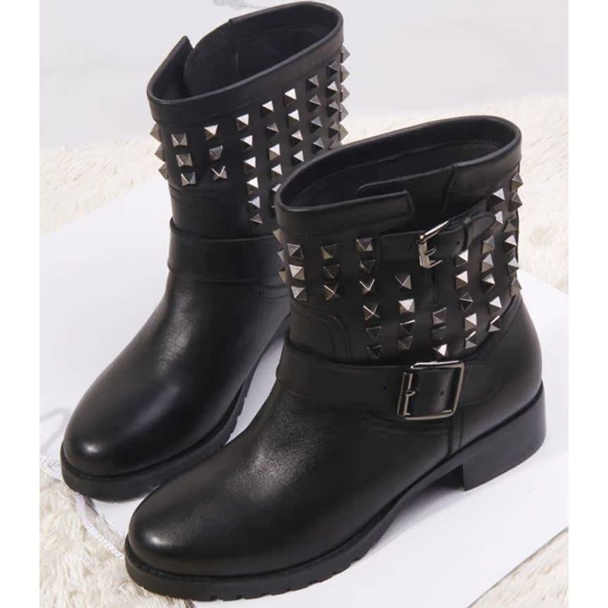 秋2014欧洲站新款短靴真皮铆钉女鞋平跟圆头套筒铆钉马丁靴潮靴子