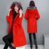 打折中国红冬装 中长款 修身 大衣气质显瘦真毛领羊毛呢子外套女红色