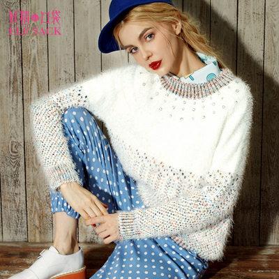 妖精的口袋 饼干情书 冬装女宽松简约优雅撞色时尚百搭毛衣