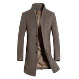 EKT秋冬男士羊毛呢大衣 中长款加厚立领风衣外套 修身保暖棉衣服