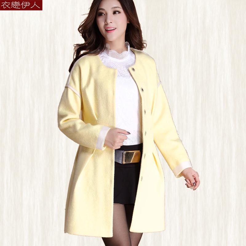 冬装特价时尚木耳韩版加厚毛呢大衣长袖中长款褶皱修身女呢子外套
