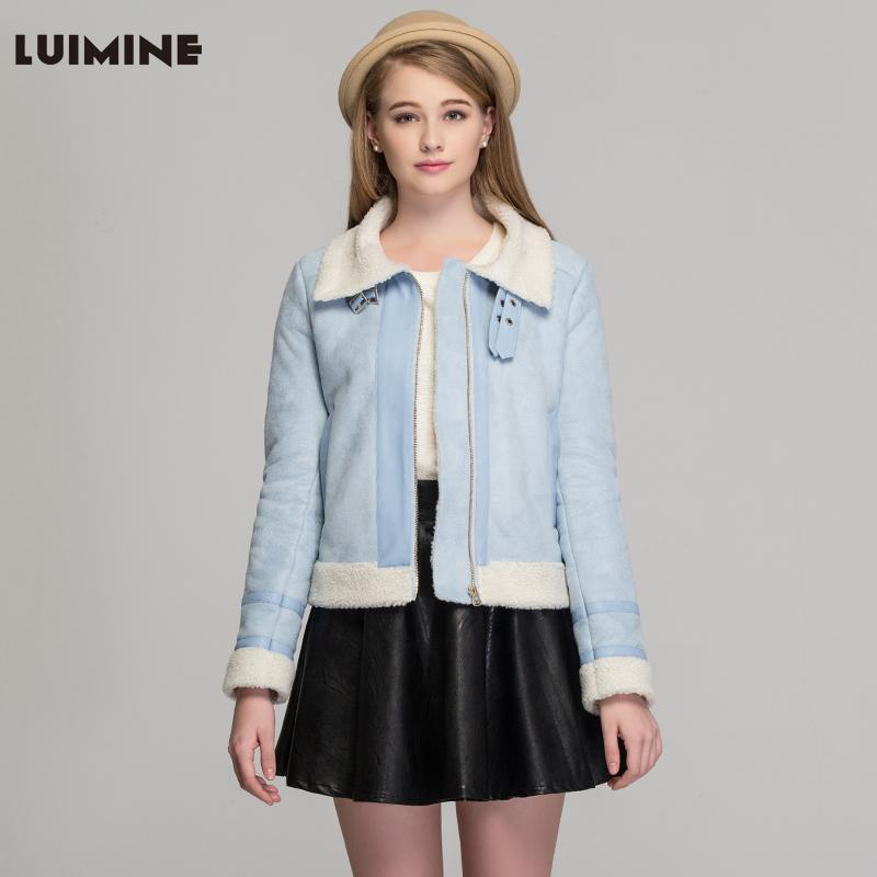 LUIMINE 秋冬季新款韩版女装麂皮绒羊羔毛绒翻毛皮修身机车短外套