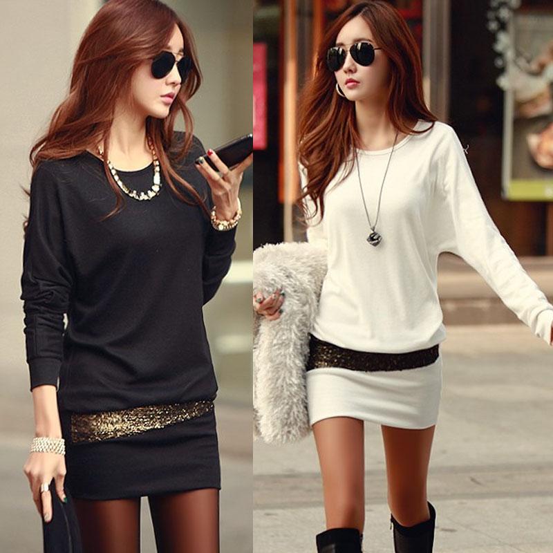 长款包臀小衫女韩版加厚保暖长袖T恤裙秋冬季大码女装加绒打底衫