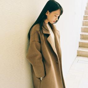反季韩国中长款毛呢外套女2017秋冬季学生韩版宽松加厚妮子大衣女