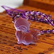 天然水晶狐狸吊坠粉色白色紫色防小三旺桃花避小人饰品男女款特价