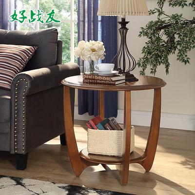 好战友 美式实木边几 休闲小圆桌茶几拼花工艺沙发边桌电话桌角几