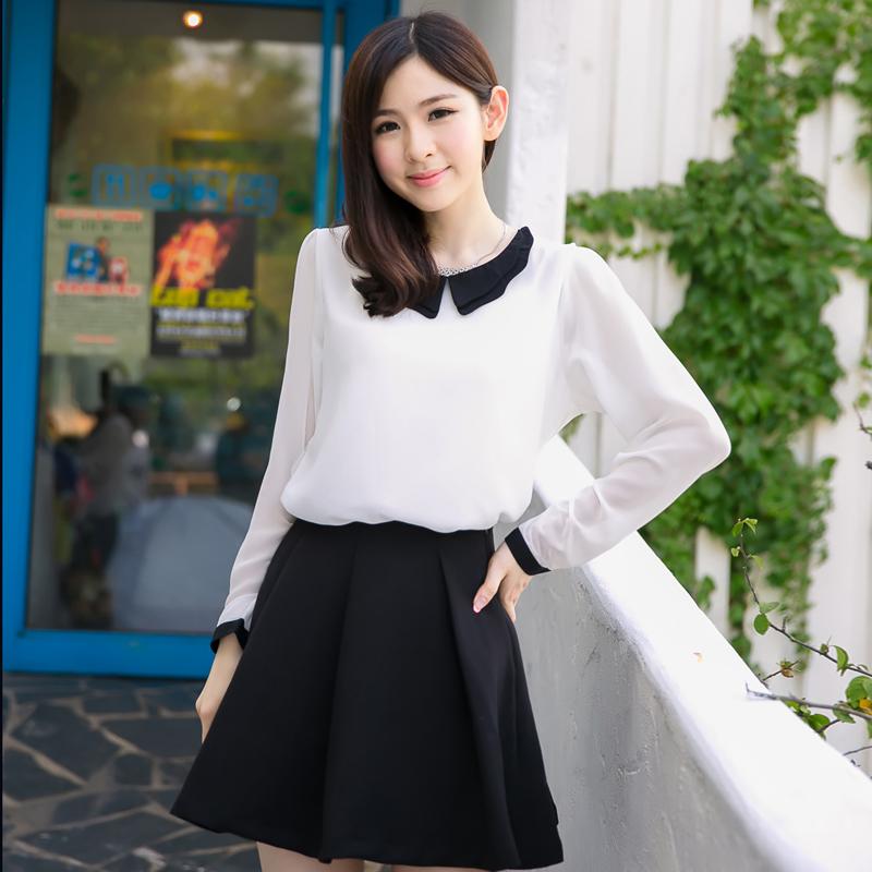 女装秋装2014新款甜美韩版长袖修身娃娃领雪纺衫上衣3747