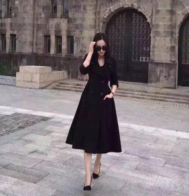 D家15秋冬新 黑色收腰大下摆中长款赫本复古风优雅羊绒连衣裙大衣
