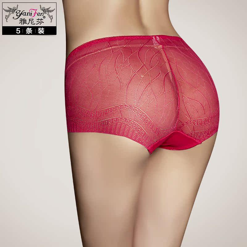 5条装无痕性感蕾丝女内裤诱惑网纱女士内裤舒适透气超薄中腰裤头