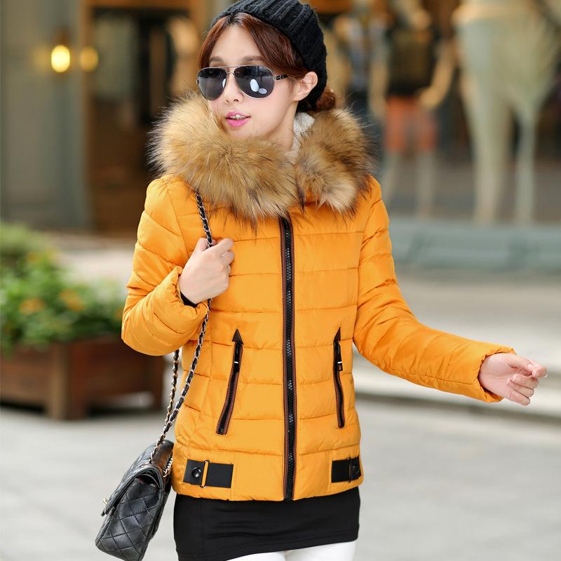 2014秋冬新款时尚韩版加大码修身显瘦军工装羽绒棉服加厚棉衣女