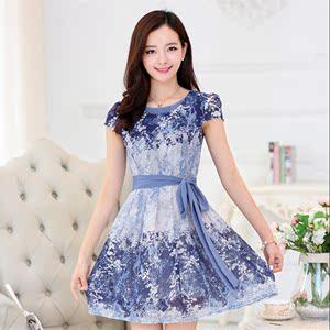 中年女装夏装连衣裙新款妈妈装大码中老年短袖雪纺衫中长秋款裙子