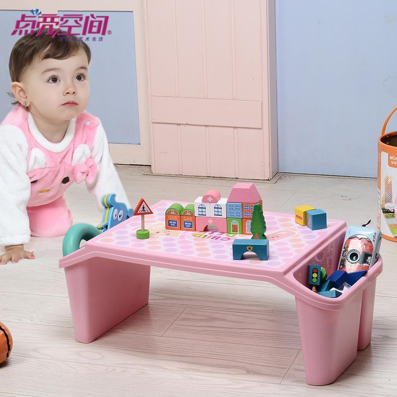 儿童塑料桌 床上书桌学生桌写字桌宝宝桌笔记本电脑桌桌面收纳盒