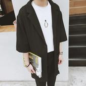 男士 防晒衣韩版 外衣英伦风 七分袖 新款 风衣外套薄款 潮男中长款 夏装