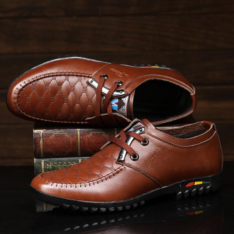 红蜻蜓男鞋正品2014冬季新款系带休闲皮鞋男真皮英伦商务皮鞋
