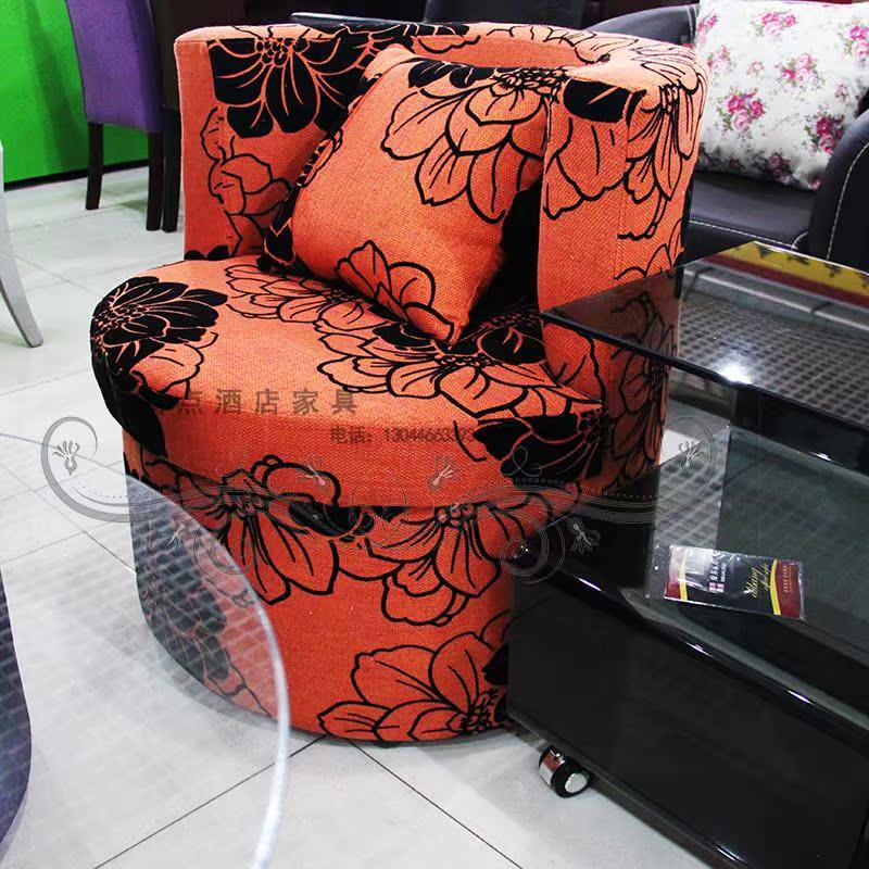 单人软包布艺圆弧沙发休闲咖啡KTV酒吧茶餐厅奶茶会所组合沙发椅