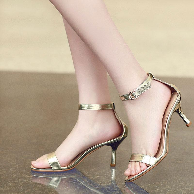2015夏季新款韩版露趾真皮女士凉鞋高跟通勤女鞋子细跟搭扣罗马鞋
