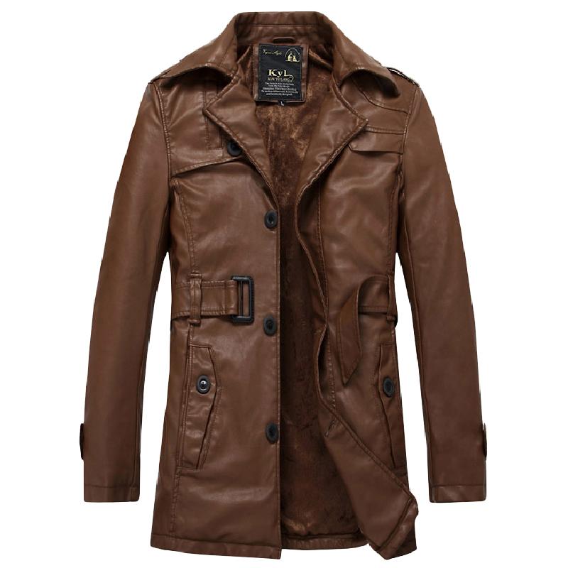 秋冬款休闲男士皮大衣中长款皮毛一体修身男外套皮衣机车军装风衣