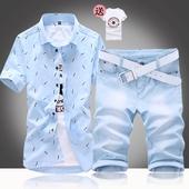 夏季男式韩版短袖衬衫搭配七分牛仔裤子一套装休闲潮流寸衫衬衣服