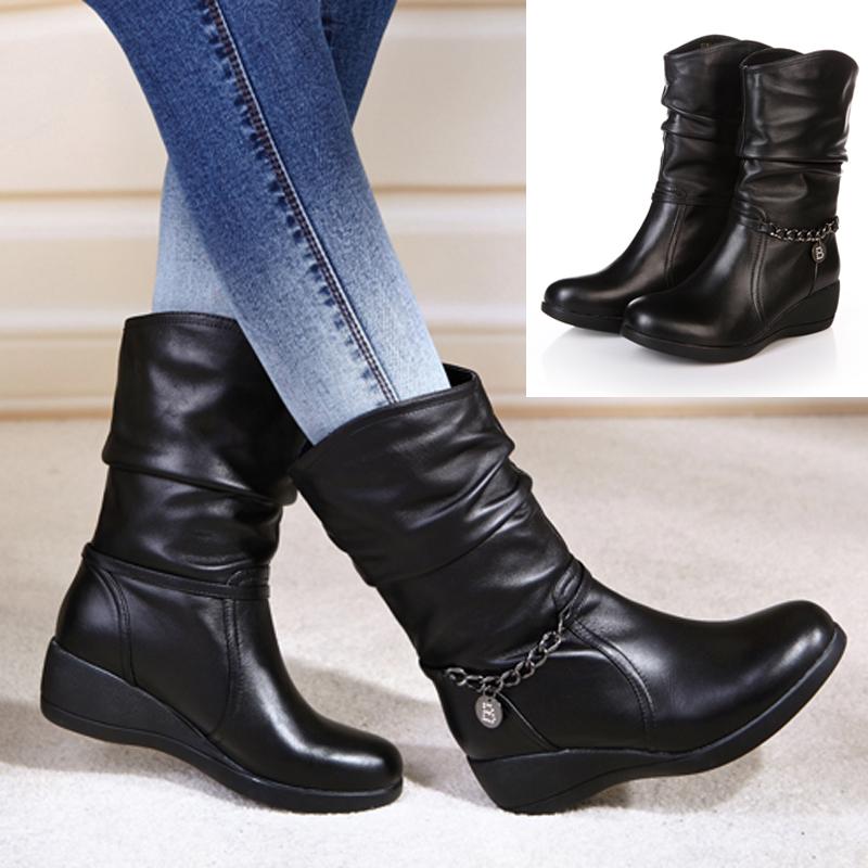 2014秋冬新款女鞋靴子正品坡跟短靴真皮短筒女雪地靴子大码