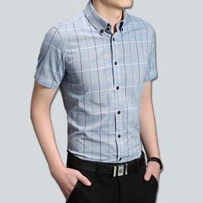 夏季男士短袖衬衫韩版修身型男潮流纯棉大码格子衬衣男装商务寸衫