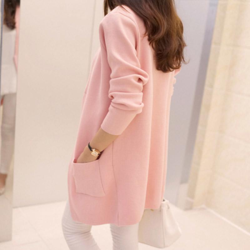2016春装新款女装韩版上衣中长款休闲开衫毛衣女外套女针织衫