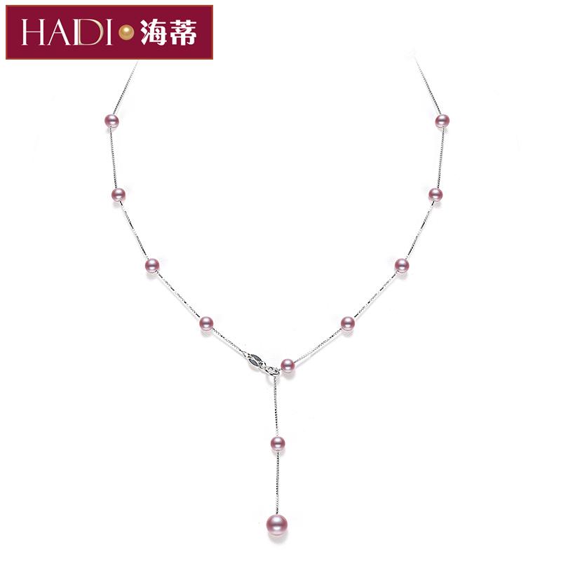 海蒂珍珠 轻灵系列-紫苏淡水紫色流苏满天星珍珠项链锁骨链S925银