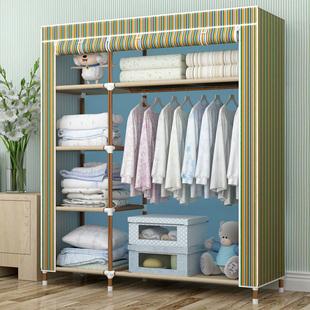 简易布衣柜钢管加粗加固双人衣柜简易布艺钢架简约现代经济型衣橱