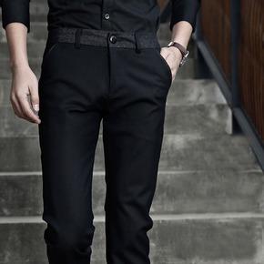 春夏季小脚裤西装裤英伦西裤男士商务休闲裤韩版修身直筒黑色薄款