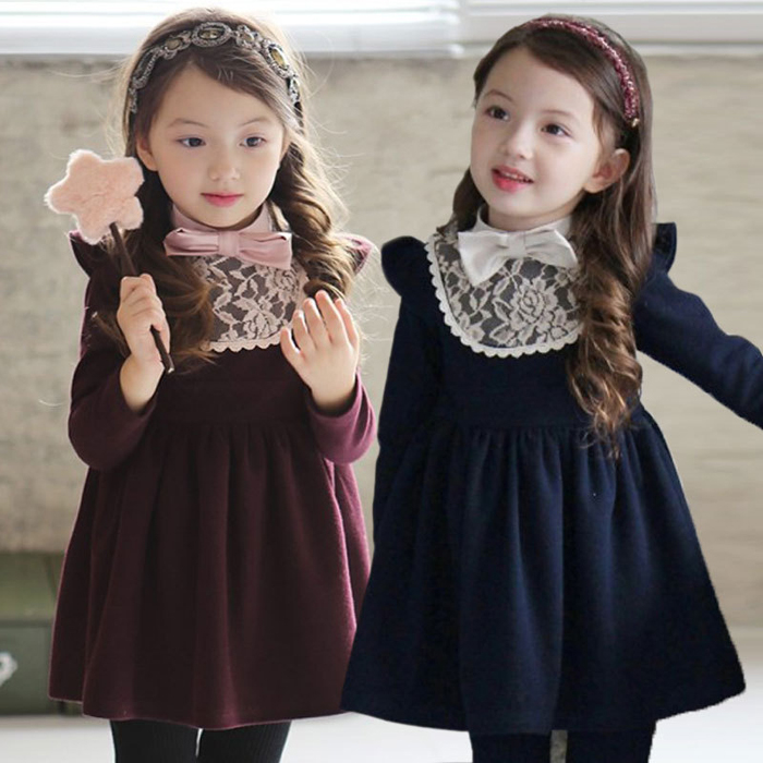 2015春装新款童装女童长袖纯棉蕾丝连衣裙儿童韩版淑女纯色公主裙