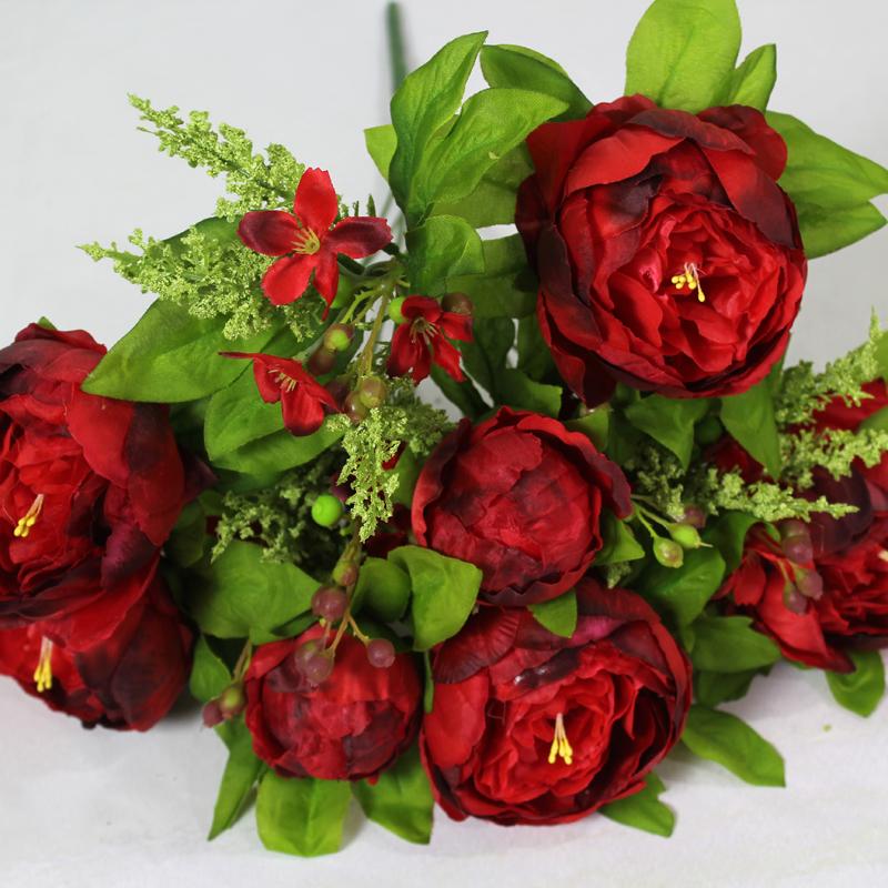 欧式牡丹花束仿真花绢花手捧假花客厅装饰花艺玫瑰3