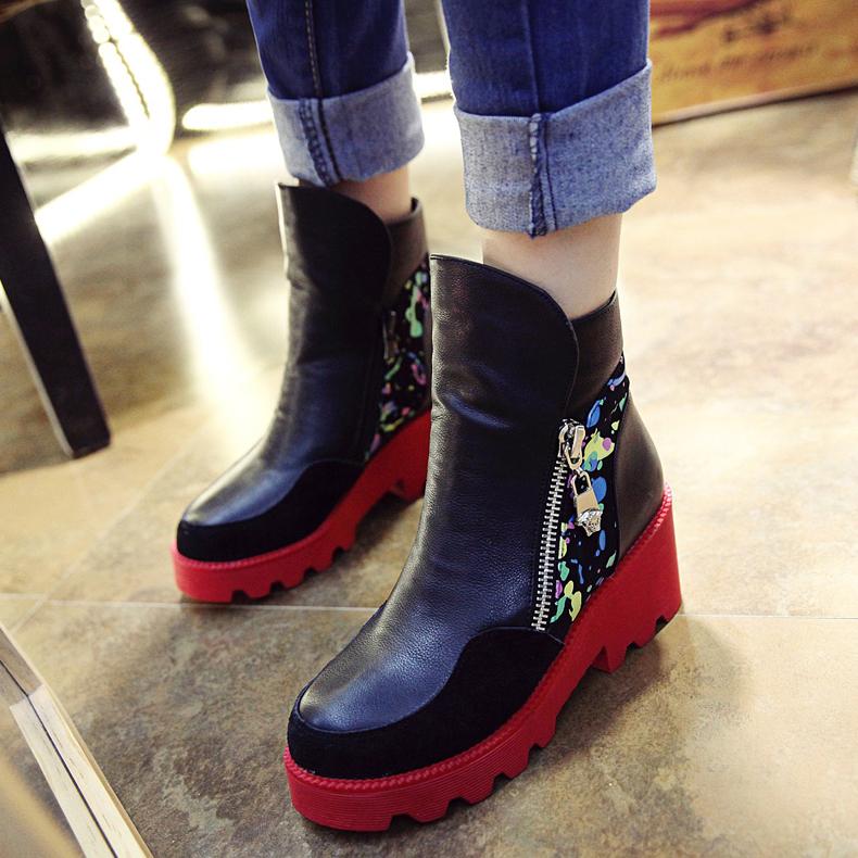 2014秋冬新款英伦侧拉链真皮粗跟短靴中跟短筒女靴子马丁靴及裸靴