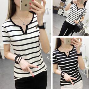 夏季韩版V领短袖T恤女黑白条纹宽松体恤半袖打底衫修身夏装上衣潮