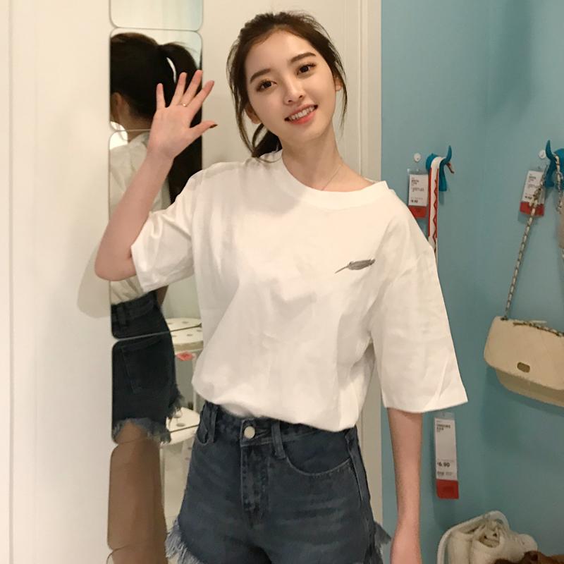 白色t恤女夏装韩版新款原宿风bf短袖体恤学生宽松百搭半袖上衣服