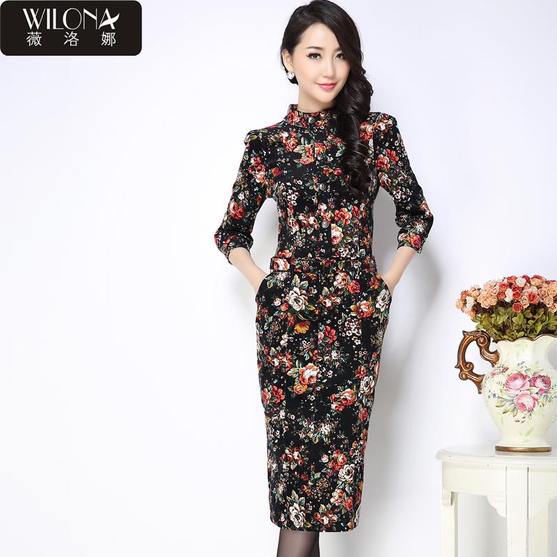 薇洛娜2015春装新款立领牡丹印花碎花包臀紧身连衣裙长裙韩版9202