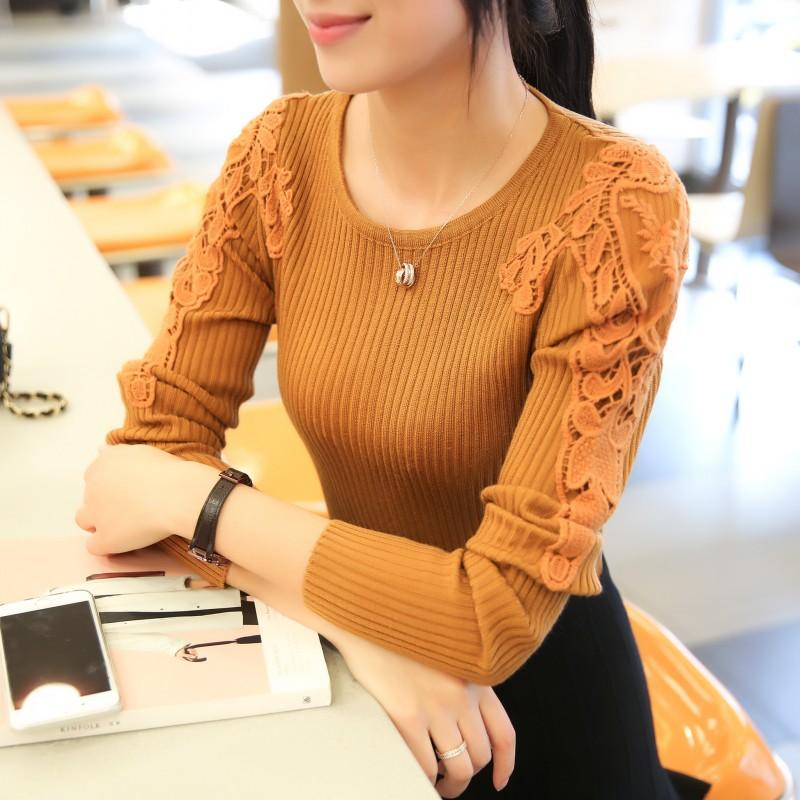 2016秋装新款韩版显瘦高领毛衣女冬天针织衫圆领长袖蕾丝打底衫厚
