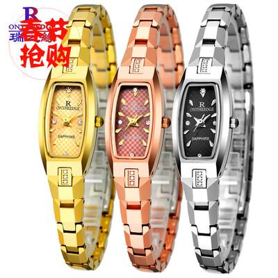 [年底大促销] 瑞士正品超薄钨钢手链女士防水腕表镶钻乌钢石英金色玫瑰金手表
