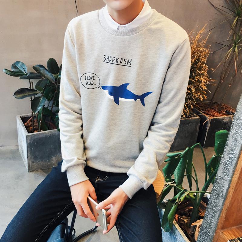 鲨鱼卡通春季男士卫衣宽松加肥加大码装外套头潮长袖t恤圆领印花