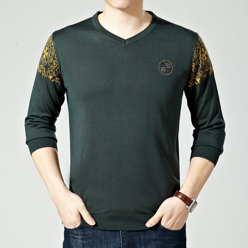 2016春季新款男士长袖T恤中年男装V领羊绒体恤衫休闲爸爸装2618