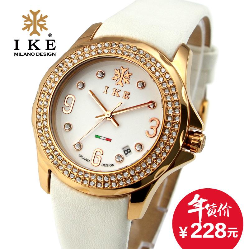 IKE正品时尚潮流女士手表女表休闲皮带防水钻复古韩国版石英腕表