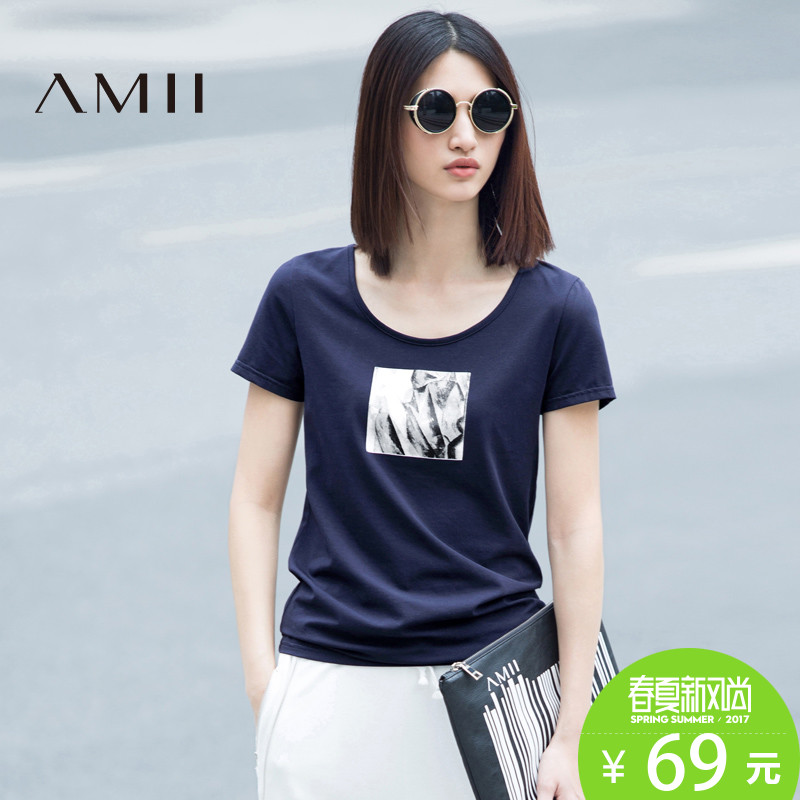 Amii[极简主义]春装显瘦白色印花短袖宽松百搭T恤女装打底衫